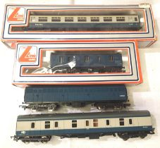 Four Lima OO Blue/Grey and Blue wagons/parcels vans, mostly very good to excellent condition (two