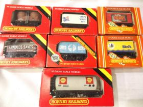 Seven Hornby boxed wagons, four wheel type, including Golden Shred, Birds etc, mostly in very good