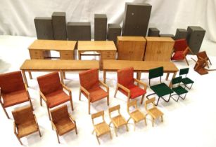 Selection of twenty-nine pieces of model office type furniture, wood construction, filing cabinets