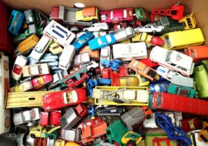 Approximately 100 play worn diecast vehicles, Dinky toys, Corgi Matchbox etc, all for spares or
