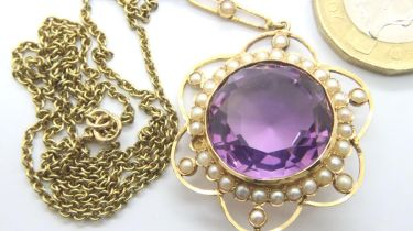 Edwardian 15ct amethyst/seed pearl cluster pendant necklace. Missing two pearls one is in box, chain