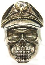 925 silver skull adjustable ring, size O. P&P Group 1 (£14+VAT for the first lot and £1+VAT for