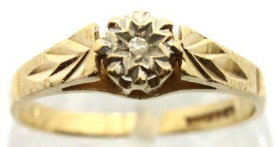 9ct gold diamond set solitaire ring, size L, 1.6g. P&P Group 1 (£14+VAT for the first lot and £1+VAT