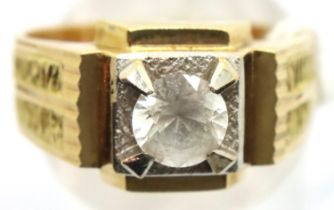 Continental gold dress ring, set with a diamond of approximately 0.5cts, size N, 5.1g, shank stamped
