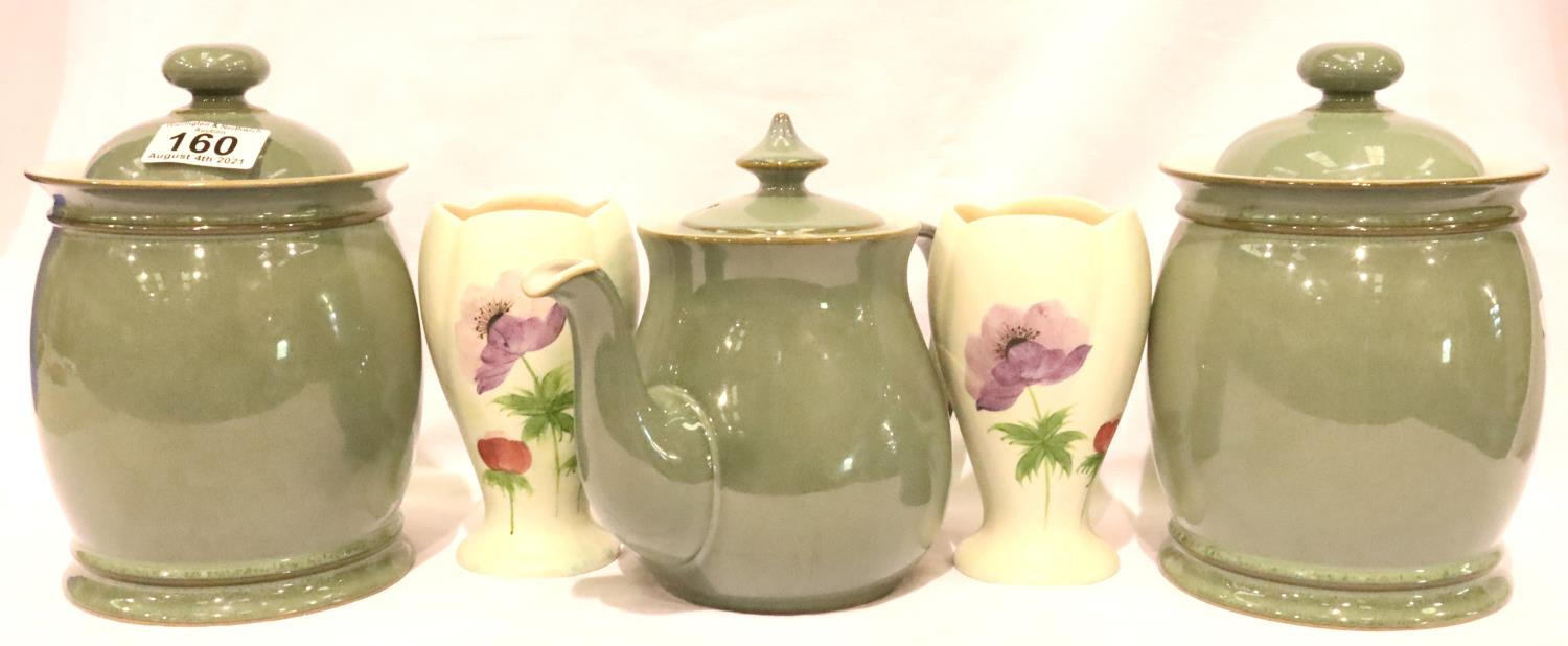 Denby teapot, two Denby jars with two Radford vases. P&P Group 3 (£25+VAT for the first lot and £5+