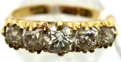 Victorian 18ct five-stone diamond set ring, size O. Birmingham 1882, 3.8g. P&P Group 1 (£14+VAT