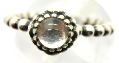 Boxed silver Pandora style stone set ring, size K. P&P Group 1 (£14+VAT for the first lot and £1+VAT