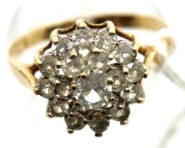 9ct gold cluster ring, size O, 2.3g. P&P Group 1 (£14+VAT for the first lot and £1+VAT for