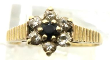 9ct gold stone set cluster ring, size I, 1.3g. P&P Group 1 (£14+VAT for the first lot and £1+VAT for