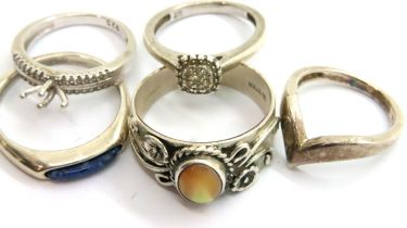 Five 925 rings, various sizes including S, Q, K, J. P&P Group 1 (£14+VAT for the first lot and £1+