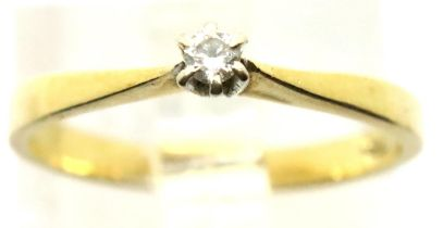 14ct diamond set solitaire ring, size K, 1.6g. P&P Group 1 (£14+VAT for the first lot and £1+VAT for