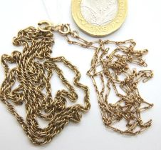Two 9ct gold neck chains, combined 10.3g. P&P Group 1 (£14+VAT for the first lot and £1+VAT for
