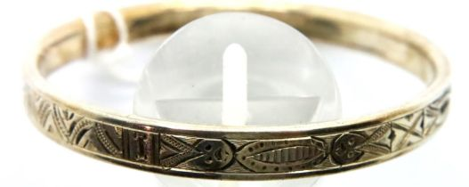 Charles Horner childs silver bangle. 4.4g P&P Group 1 (£14+VAT for the first lot and £1+VAT for