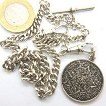 925 silver Albert chain. L: 38 cm, 38g. P&P Group 1 (£14+VAT for the first lot and £1+VAT for