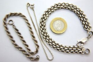 Three silver bracelets, longest L: 21 cm. P&P Group 1 (£14+VAT for the first lot and £1+VAT for