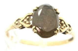 9ct gold stone set ring, size N, 1.2g. P&P Group 1 (£14+VAT for the first lot and £1+VAT for