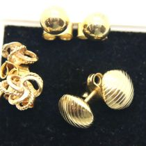 Three pairs of 9ct gold earrings, 5.1g. P&P Group 1 (£14+VAT for the first lot and £1+VAT for