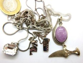Five 925 silver necklaces. P&P Group 1 (£14+VAT for the first lot and £1+VAT for subsequent lots)
