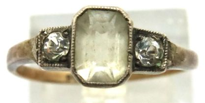9ct gold and silver stone set ring, size P/Q, 2.2g. P&P Group 1 (£14+VAT for the first lot and £1+
