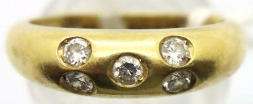 20th century diamond set half-hoop ring, five-stone gypsy set, 18ct, London 1977, size N, 5.5g. No