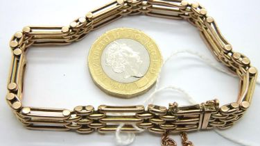 Edwardian 9ct rose gold gate bracelet, L: 18 cm, 19.4g. P&P Group 1 (£14+VAT for the first lot
