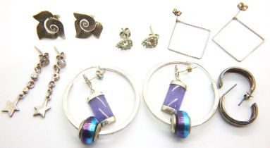 Seven pairs of 925 silver earrings. P&P Group 1 (£14+VAT for the first lot and £1+VAT for subsequent