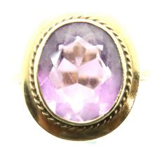 9ct gold amethyst set dress ring, size K/L, 4.0g. P&P Group 1 (£14+VAT for the first lot and £1+