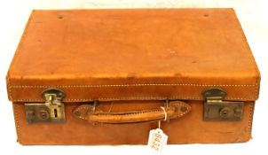 Small leather suit case, 41 x 13 x 29 cm H. P&P Group 2 (£18+VAT for the first lot and £3+VAT for