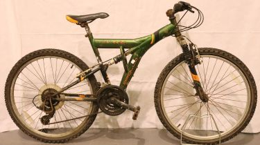 Apollo 14 inch frame full suspension 21 speed bike. Not available for in-house P&P, contact Paul O'