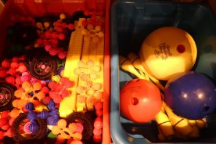 Large quantity of Interstar early learning building toy with a bowls and skittle set. Not