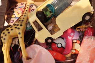 Mixed box of toys and figures including Noddy and electronic key rings. Not available for in-house