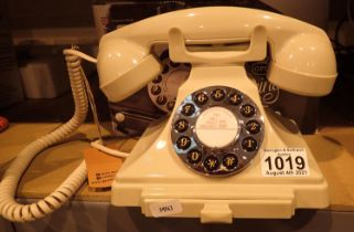 GPO Carrington, push button telephone in 1920s styling with pull-out pad tray; compatible with