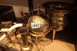 Brass figurines, footed bowls, candlesticks etc. Not available for in-house P&P, contact Paul O'