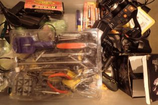Box of electrical items to include battery charges, lights, tools etc. Not available for in-house