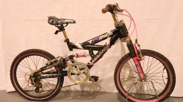 Childs 19 inch full suspension five speed Magna Trance mountain bike. Not available for in-house P&