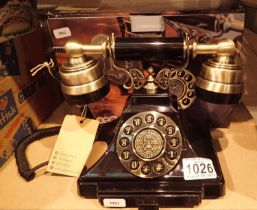 GPO Duke, push button telephone with a black & brass finish and cloth, handset curly cord,