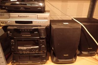 Panasonic midi system with 3CD changer, turntable and a video recorder. Not available for in-house