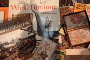 Mixed collection of railway booklets and furniture with a scrapbook and playing cards. Not available