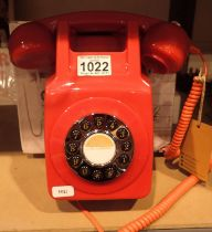 Red, wallmounted, GPO746 Retro push button telephone replica of the 1970s classic, compatible with