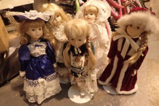 Box of dolls with ceramic heads. Not available for in-house P&P, contact Paul O'Hea at Mailboxes
