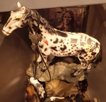 Box of horse ornaments and a Native Indian wall clock. Not available for in-house P&P, contact