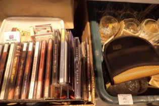 Two boxes of mixed household items including glass, crystal, CDs etc. Not available for in-house P&
