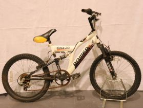 Childs six speed Power Edge 20 full suspension bike. Not available for in-house P&P, contact Paul