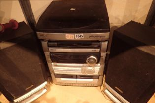 Aiwa digital audio system 2-L10 with two speakers. Not available for in-house P&P, contact Paul O'
