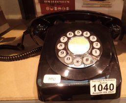 Black, GPO746 Retro push button telephone replica of the 1970s classic, compatible with modern