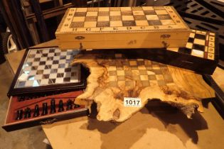 Four chess sets, with boards (unchecked). Not available for in-house P&P, contact Paul O'Hea at