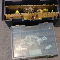 Fishing tackle box with tackle and an empty box. Not available for in-house P&P, contact Paul O'