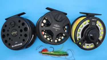 Three fly reels including Greys GRX 1516 in a Greys bag. P&P Group 2 (£18+VAT for the first lot