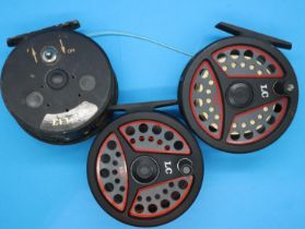 Three fly fishing feels including two Leeda LC, and an Omoto EFT 780. P&P Group 2 (£18+VAT for the
