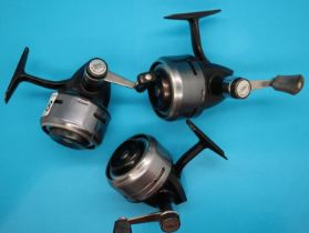 Three Abu 506 closed faced fishing reels. P&P Group 2 (£18+VAT for the first lot and £3+VAT for